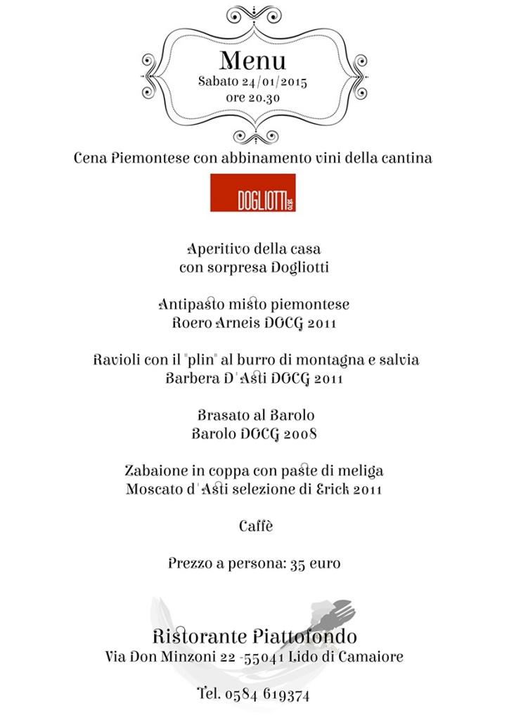 Cena Piemontese con abbinamento vini della cantina Dogliotti